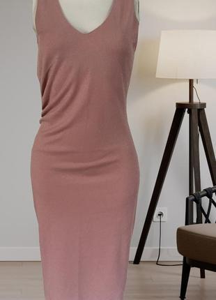 Платье люрекс,платье нюдовое,платье блестящее