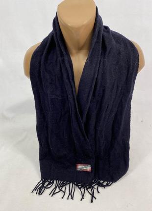 Шарф фирменный, качественный accessories, т.синий, шерстяной