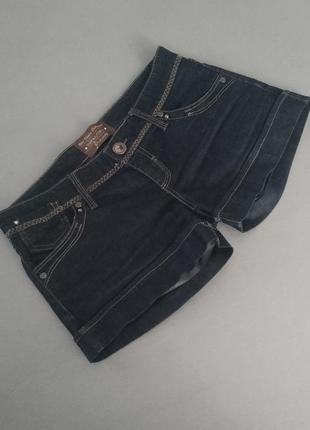 Короткие джинсовые шорты темно-синие