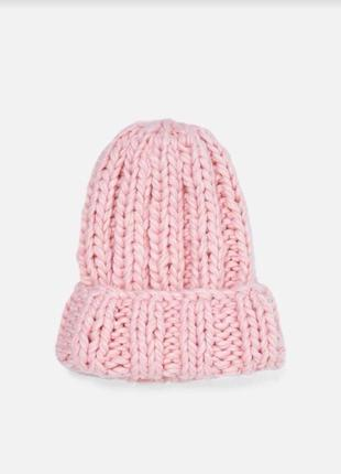 Шапка zara/шапка розовая/шапка зара /объёмная шапка