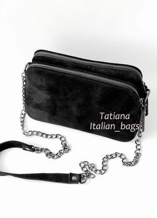 Sale. замшевая сумка кроссбоди с 2-мя молниями, черная. италия