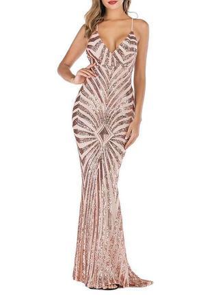 Шикарное выпускное длинное платье в паетках