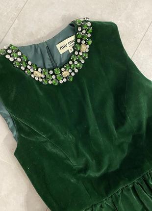 Шикарное изумрудное бархатное платье