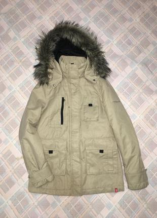 Демисезонная женская куртка парка с меховым капюшоном джинсовая бежевая edc размер s