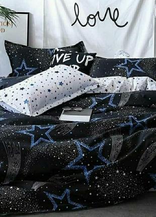 Хлопковое постельное белье со звездами, расцветка комбинированная