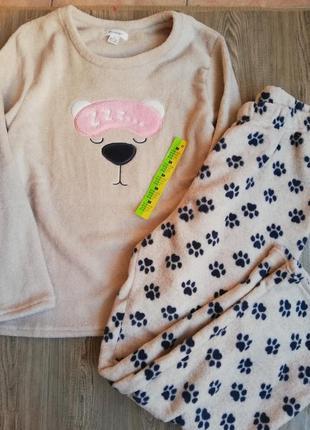 Милая тёплая флисовая пижама от primark кофта и штаны м
