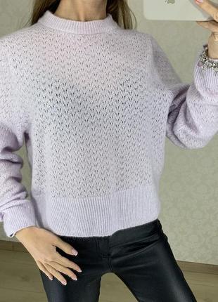 Лавандовый ажурный мохеровый свитерок h&m