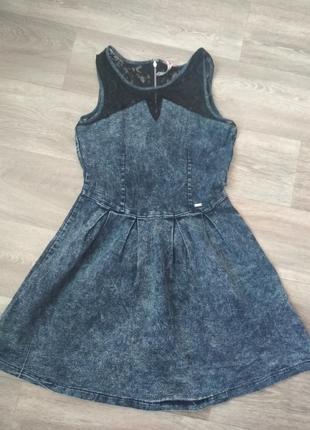 Джинсовое платье с гипюровым верхом, cropp