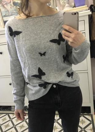 Шерстяной серый итальянский свитер, свободного кроя с бабочками