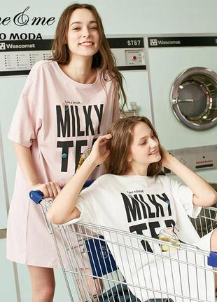 Платье-футболка женское домашнее. туника хлопковая для дома и отдыха