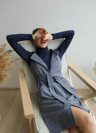 Женский сарафан из кашемира с карманами под пояс! офисный стиль синий цвет