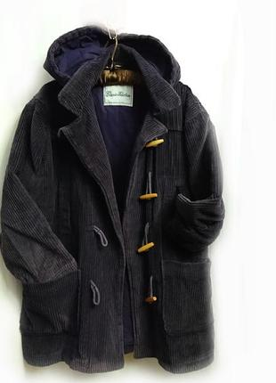 Фиолетовая куртка утепленная р 40-42 вельвет с капюшеном