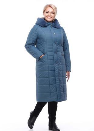 Пальто зимнее из плащевки, мех иск. кролик, наполнитель силикон, код 3727м