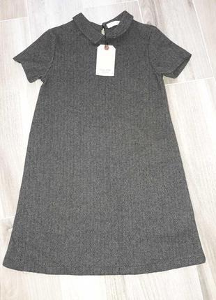 Теплое платье сарафан школьный костюмка елочка твид