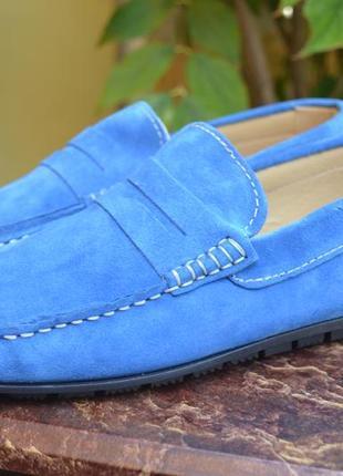 Голубые мужские мокасины.италия.