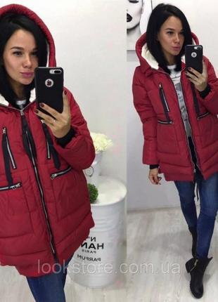 Женская куртка парка трансформер с карманами бордовая