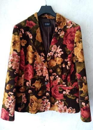 Велюровый, бархатный пиджак, цветы, бренд, хлопок, liz claiborne, 52