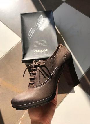 Кожаные туфли на шнуровке geox, ботильоны, натуральная кожа