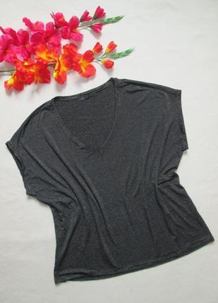 Красивенная стильная футболка летучая мышь в полоску с люрексом вискоза m&s