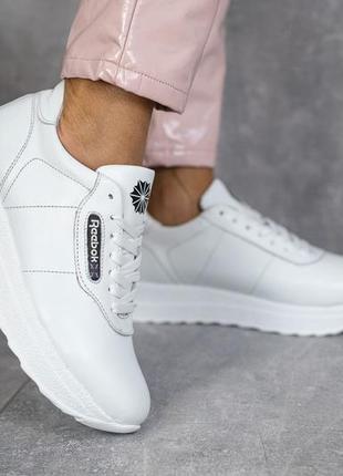 Женские кроссовки кожаные весна/осень белые