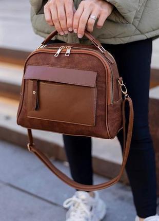 Женская сумка через плечо коричневая под замшу под кожу