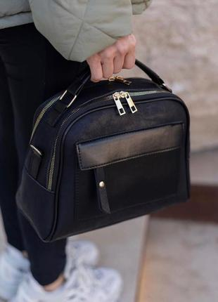 Черная сумка через плечо под замшу под кожу