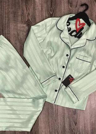 Атласная пижама  сатиновая пижама