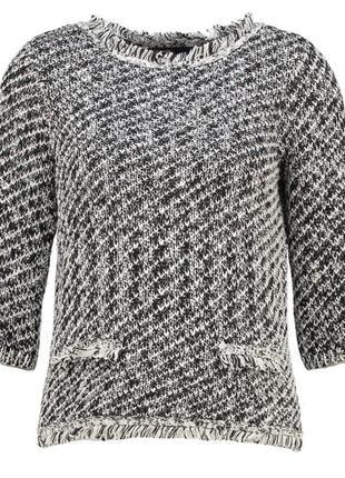 Черно белый твидовый свитер пуловер джемпер твид