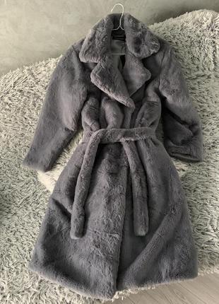 Шуба искусственная эко мех искусственный пальто кролик рекс серая
