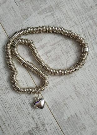 Серебряное колье от links london с подвесом-сердце/цепочка серебро-45см