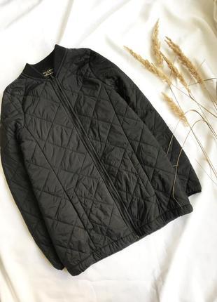 Бомбер куртка стеганная под низ длинная /плащевая черная под пальто/шубу
