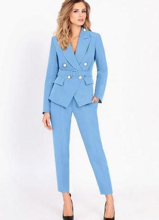 Костюм брючный под широкий пояс приталенный пиджак большой размер 52