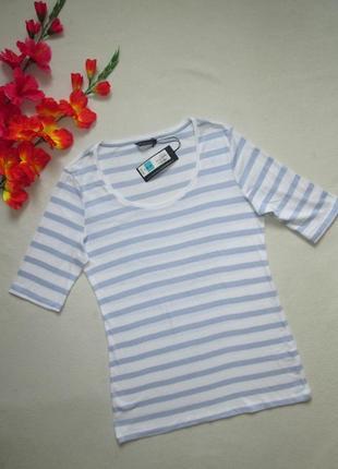 Классная милая стрейчевая хлопковая футболка в полоску удлиненные рукава marks & spencer