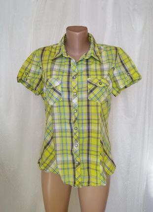 Рубашка в клетку сочные цвета хлопок