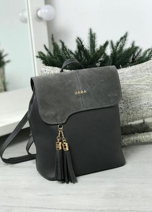 Рюкзак-сумка натуральная замша и кожзам