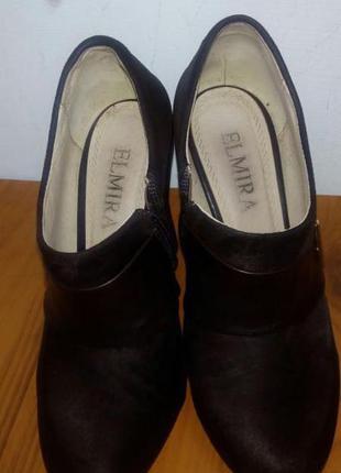 Туфли на высоком каблуке женские ботильоны коричневые замшевые 36