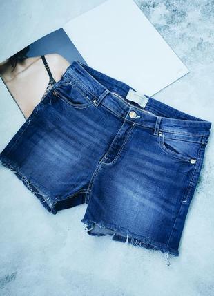 Синие джинсовые шорты с необработанным краем stradivarius