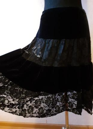 #розвантажуюсь юбка vilonna, черная, бархат с гипюром