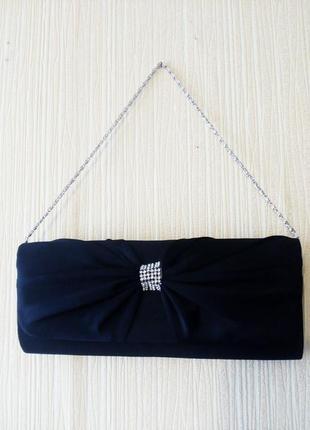 Шикарная черная вечерняя сумочка клатч