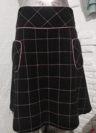 Шерстяная юбка трапеция с карманами