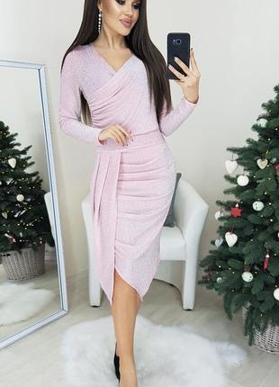 Платье розовое люрекс мод.459