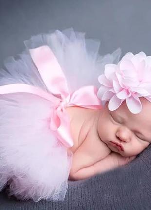 Фатиновая юбка-пачка для маленьких девочек и повязка на голову с цветами комплект