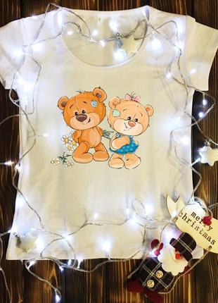 Женская футболка  с принтом - пара мишек тедди
