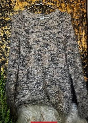 Пушистый мягкий оверсайз свитер в пудровых тонах