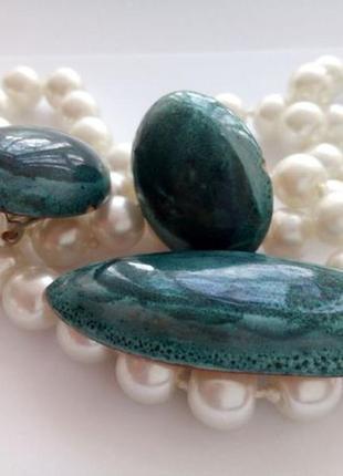 Брошь + клипсы ссср керамический с эмалью винтажный 70-е года, майолика