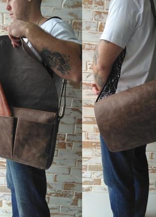 Стильная и качественная мужская кожаная сумка/ винтажная сумка