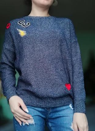 Вязаный свитер с нашивками от select