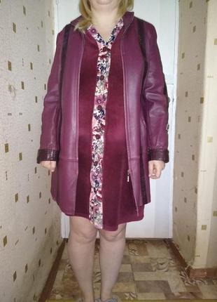 Женский френч пиджак натуральная кожа бардо б у отличное состояние