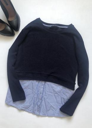 Базовый джемпер с имитацией рубашки