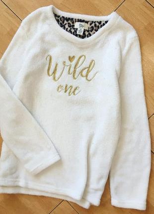 Белый мягкий плюшевый свитшот размер 44-46; свободный крой